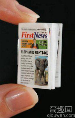 世界上最小的报纸 长宽是 32 × 22 毫米