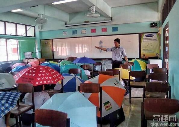 泰一学校为防考试作弊 让学生撑伞考试